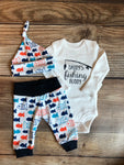 Blue and Orange Fish Newborn Outfit, fishing