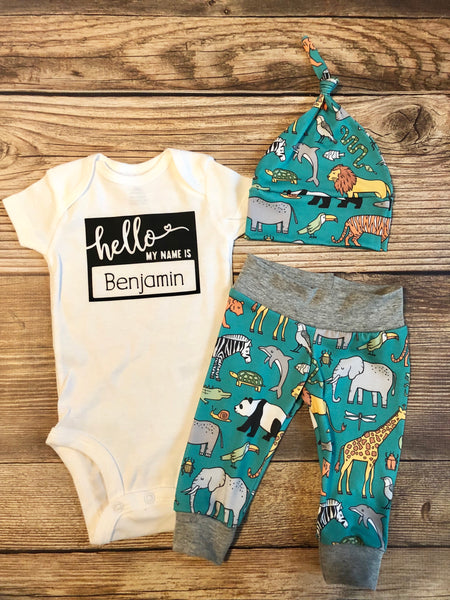 Teal Safari Newborn Outfit, Baby Name Outfit, Hello World - Josie and James