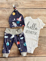Hello universe navy astronaut newborn outfit - Josie and James