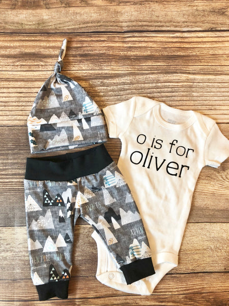 Charcoal Adventure Awaits, Baby Boy Outfit, Coming Home Outfit - Josie and James