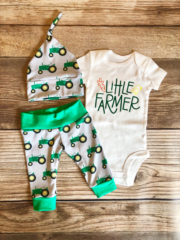 Little Farmer, Green Tractor Newborn Outfit