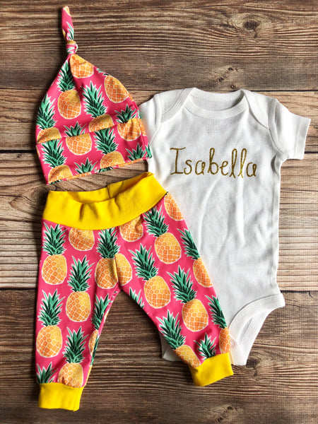 Pink and Gold Pineapple Newborn Outfit, Coming home outfit