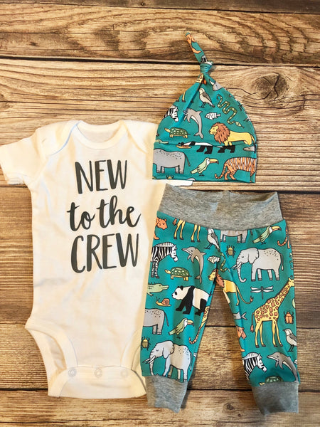 New to the Crew Teal Safari Newborn Outfit