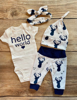 Hello World White and Navy buck newborn outfit