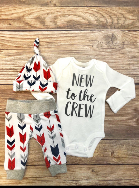 New to the Crew Red Navy Arrow Newborn Outfit - Josie and James