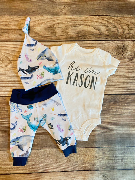 Navy Nautical Newborn Outfit - Josie and James