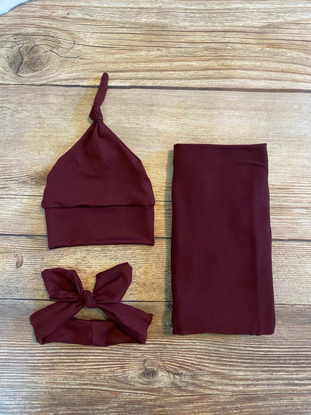 Solid Burgundy Swaddle Set - Josie and James