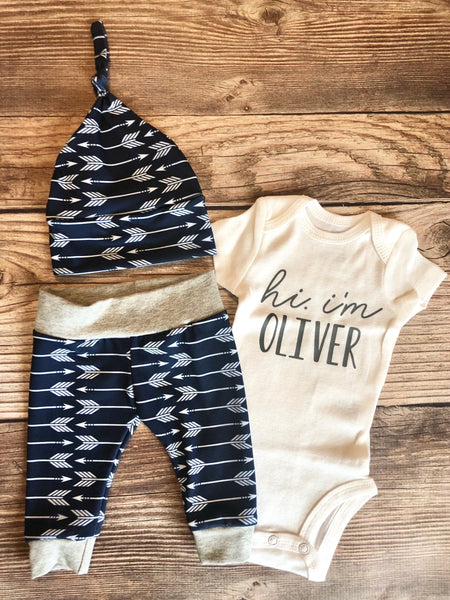 Hi I'm baby name Navy Archer Newborn outfit, Arrow, Navy, Boy Outfit - Josie and James