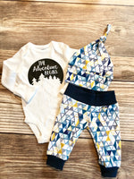 Navy Mustard Geometric Newborn Outfit - Josie and James