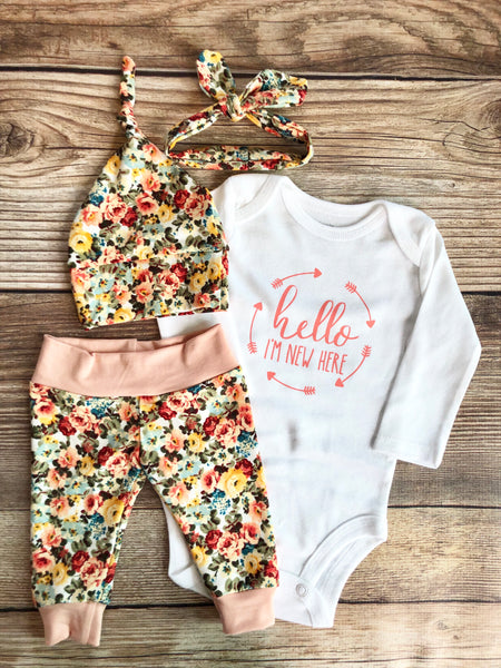 Jamie Floral Newborn Outfit, Personalized, Custom, Baby Name Outfit - Josie and James