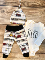 Train Newborn Outfit - Josie and James