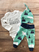 Hi I'm Personalized Mint Mountain Bear Newborn Outfit - Josie and James