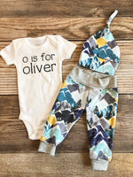Snowy Mountain Newborn outfit, baby name onesie, baby name outfit, boy outfit - Josie and James