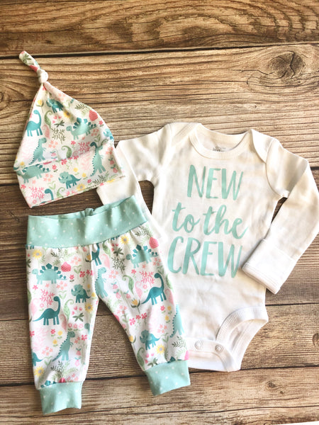 Mint and Pink Dino Newborn Outfit, New to the Crew, dinosaur - Josie and James