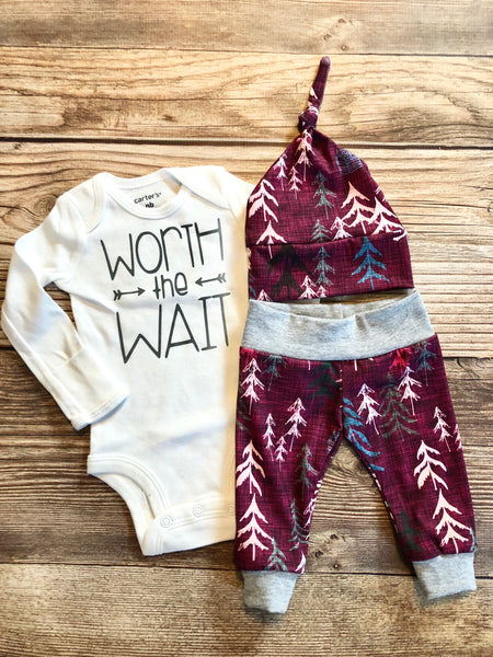 Worth the Wait Magenta Forest, newborn outfit