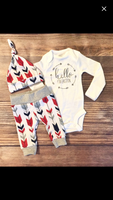 Red Navy Arrow Newborn Outfit - Josie and James