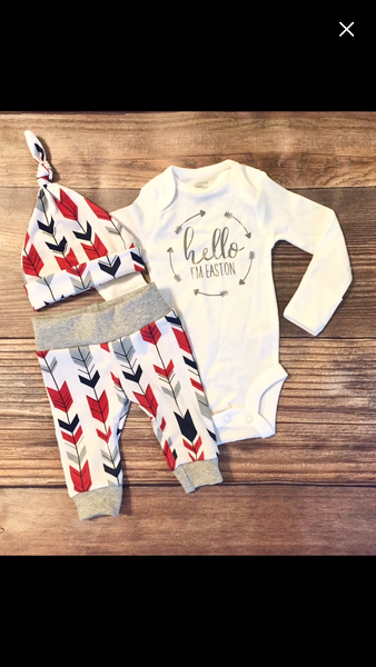 Red Navy Arrow Newborn Outfit