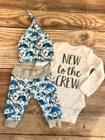 New to the Crew Watercolor Blue Dino Newborn Outfit, dinosaur, Dino - Josie and James