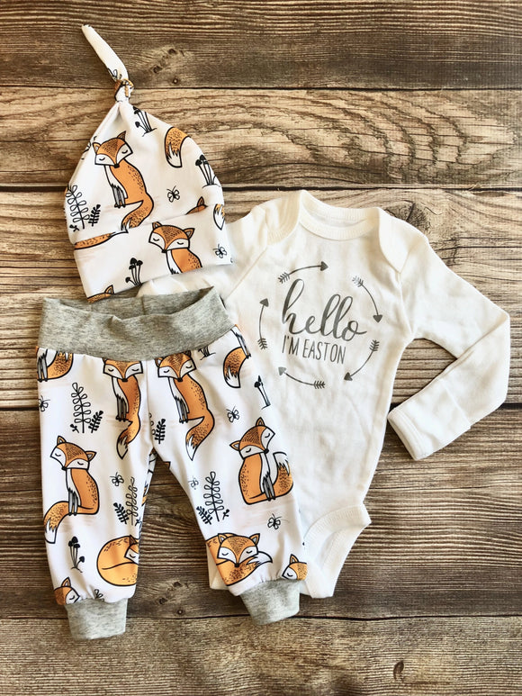 Orange Fox Newborn Coming Home Outfit