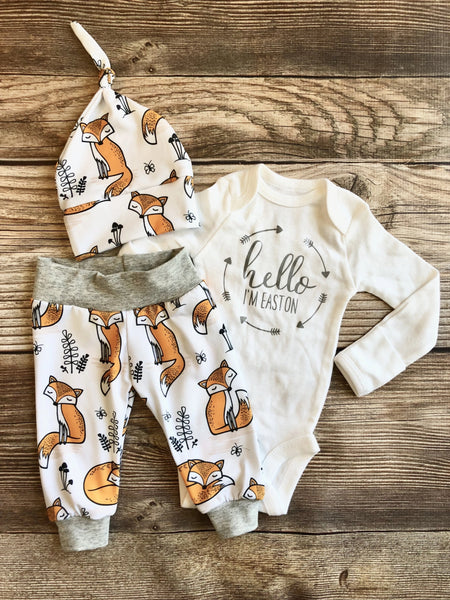 Orange Fox Newborn Coming Home Outfit - Josie and James