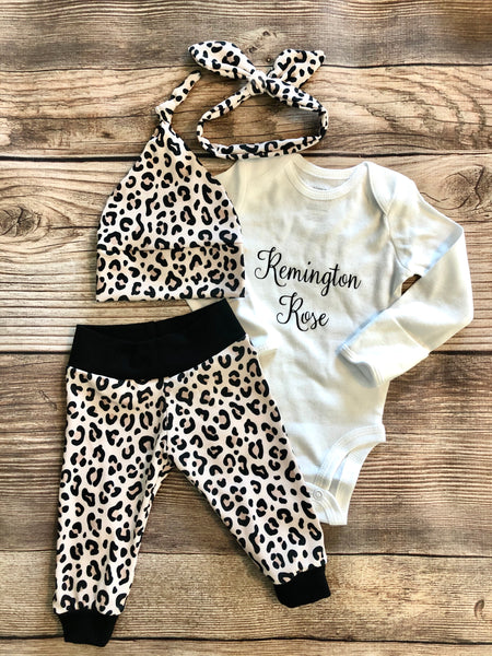 Leopard Print Coming home Outfit, personalized - Josie and James