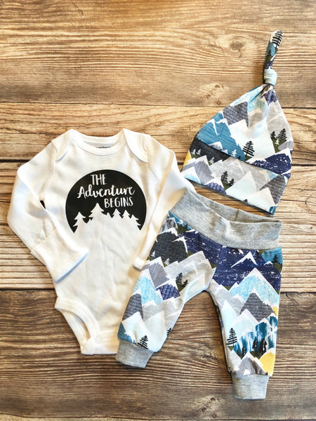 Snowy Mountain Newborn outfit, The Adventure Begins