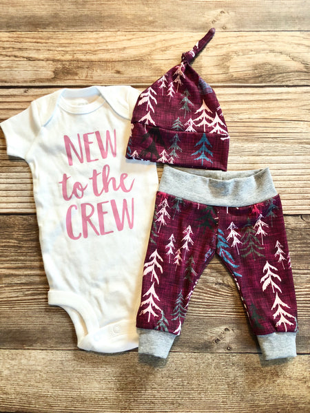 New to the crew Magenta Forest, newborn outfit - Josie and James