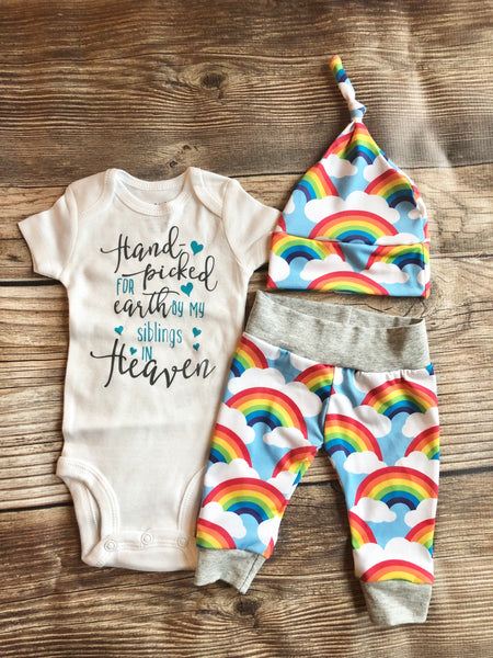 Handpicked by my Siblings in Heaven, Rainbow Baby, Coming Home Outfit