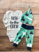 New to the Crew Mint Mountain Bear Newborn Outfit - Josie and James