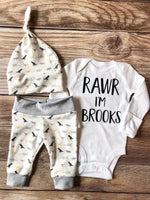 Cream Dino Custom Newborn Outfit