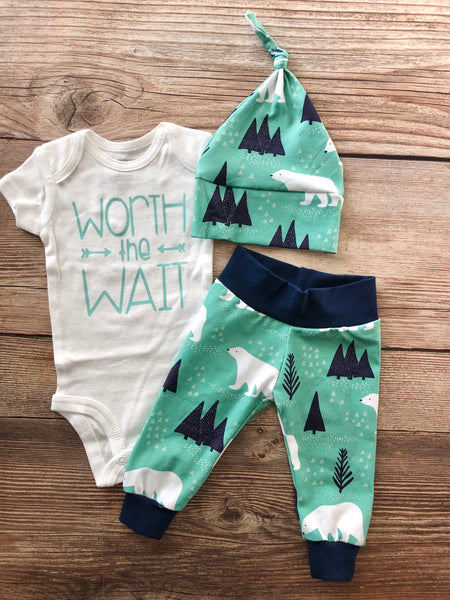 Worth the Wait Mint Mountain Bear Newborn Outfit - Josie and James