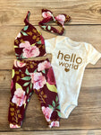Courtney Floral Newborn Outfit , hello world - Josie and James