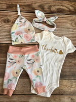 Baby Name Madison Floral Newborn Outfit - Josie and James
