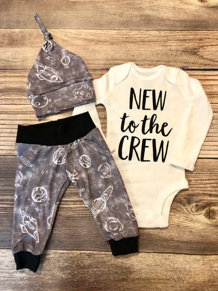 New to the Crew Gray Solar System Outfit, moon and stars, rocketship - Josie and James