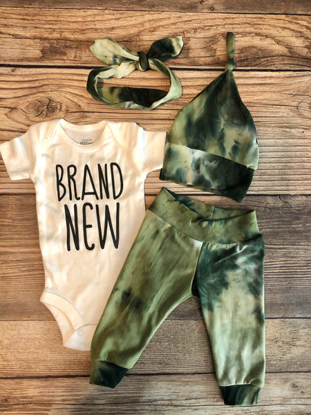 Sage Green Tie Dye Newborn Outfit - Josie and James