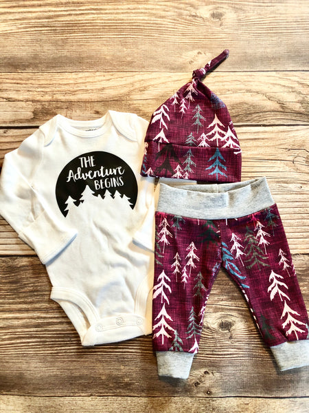 the adventure begins Magenta Forest, newborn outfit