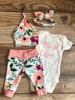Secret Garden Floral Newborn Outfit, Personalized, Custom, Baby Name Outfit - Josie and James