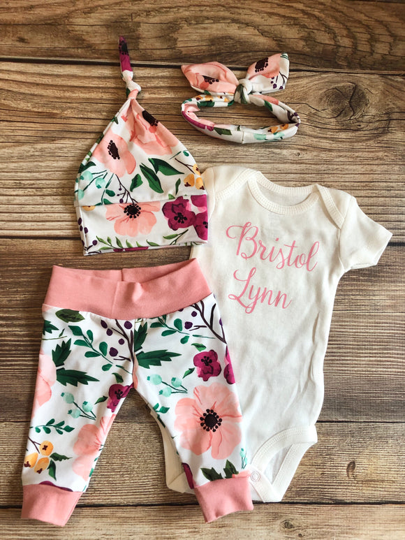 Secret Garden Floral Newborn Outfit, Personalized, Custom, Baby Name Outfit