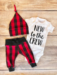 New to the Crew Buffalo Plaid Newborn Outfit
