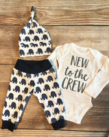 New to the Crew Navy Elephant Newborn Outfit - Josie and James