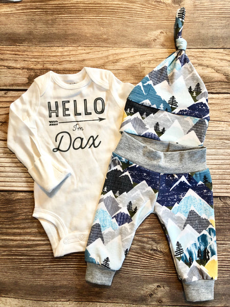 Snowy Mountain Newborn Outfit, Custom Name Outfit