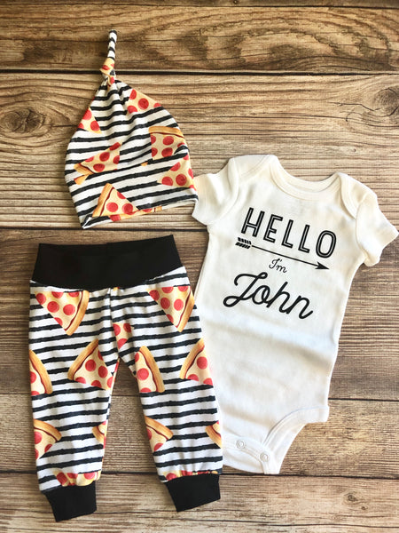 Hello I'm Baby Name Home Slice Pizza Newborn Outfit, Spring, Pizza, pepperoni