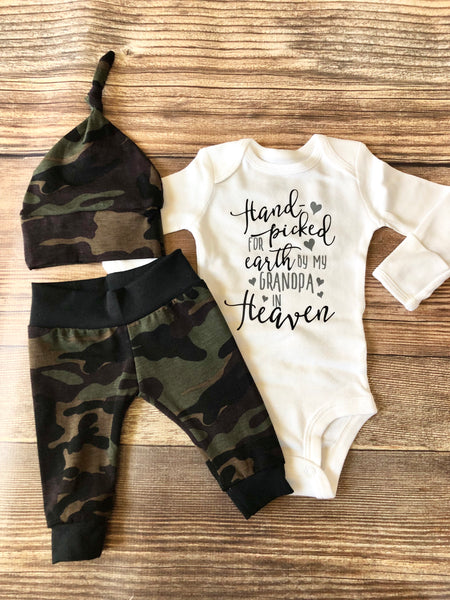 Handpicked from Heaven Camo Outfit, newborn outfit, camouflage - Josie and James