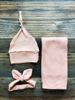 Peach Solid Swaddle Set - Josie and James