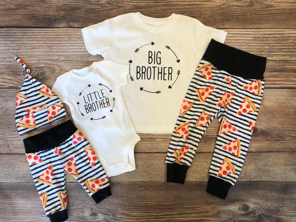 Home Slice Pizza Big brother Little Brother Outfit Set, Big Bro, Little Bro, Sibling Set, Sibling Outfit - Josie and James