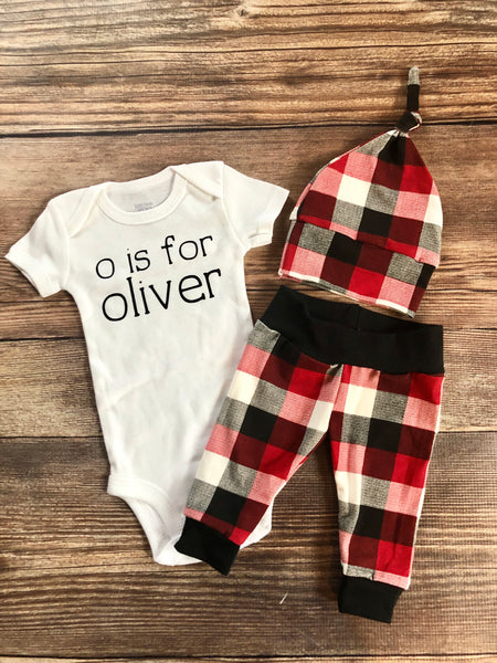 Red white and cream buffalo plaid newborn outfit, baby name outfit