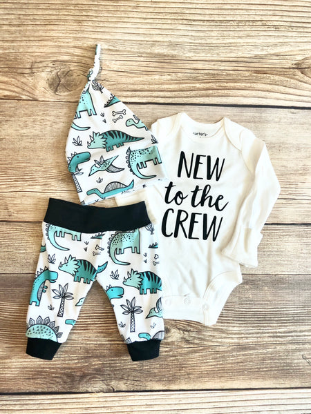 New to the Crew White Dino Newborn Outfit - Josie and James