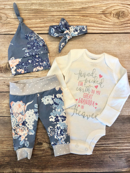Powder Blue Floral Outfit, Handpicked, Handpicked from Heaven, grandpa , grandma , Coming Home Outfit, Going Home Outfit - Josie and James