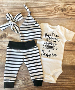 Handpicked for Earth black and white stripe newborn outfit, gender neutral