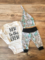 New to the Crew Mint gray Giraffe Newborn Outfit